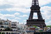 Famous Eiffel Tower Landmark And Paris Old Roofs Close Up, Paris France poster