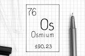The Periodic Table Of Elements. Handwriting Chemical Element Osmium Os With Black Pen, Test Tube And poster