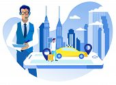 Call Center Passenger Service Vector Illustration. Call Center Operator Works In Taxi Service. Passe poster