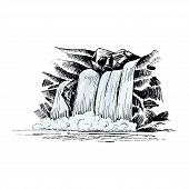 Waterfall Vector Sketch. Cascade Waterfall In The Rocks Hand-drawn Vector Illustration. Landscape Wi poster