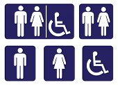Wash Room Sign Collection.rest Room Sign Collection On Blue Background Drawing By Illustration.male  poster