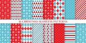 Christmas Pattern. Holiday Seamless Background. Vector. Xmas New Year Endless Texture With Gift, Sno poster