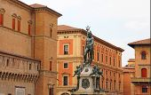 Bologna Landmarks: Fountain Of Neptune Is A Monumental Civic Fountain Located In The Eponymous Squar poster