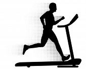 Vector Man Running on a Treadmill. Silhouette of a man running on a modern treadmill with halftone m