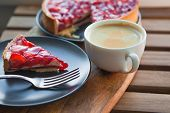 Still Life With A Cup Of Coffee And Sweet Dessert With Strawberries, Cheesecake Cake With Slices Of  poster
