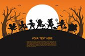 Happy Halloween. Children Dressed In Halloween Fancy Dress To Go Trick Or Treating.template For Adve poster