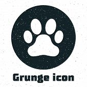 Grunge Paw Print Icon Isolated On White Background. Dog Or Cat Paw Print. Animal Track. Vector Illus poster
