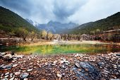 stock photo of jade blue  - Blue moon valley at Lijiang - JPG