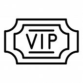 Vip Label Icon. Outline Vip Label Vector Icon For Web Design Isolated On White Background poster