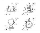 Arena, Award Cup And Arena Stadium Line Icons Set. Timer Sign. Sport Stadium, Trophy, Sport Complex. poster