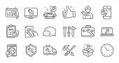 Repair Line Icons. Hammer, Screwdriver And Spanner Tool. Washing Machine Repair Linear Icon Set. Qua poster
