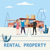 Real Estate Concept. House Rent Service. Modern Family Characters Rent New Luxury Villa Or Big Appar poster