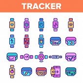 Color Watch Tracker Elements Icons Set Vector Thin Line. Different Activity Fitness Tracker Electron poster