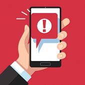 Alert Message Mobile Notification. Hand Holding Smartphone With Exclamation Sign, Virus Notification poster