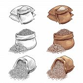 Hand Drawn Rice Sacks Vector Set. Sketch Rice Isolated On White Background. Rice In Sack, Grain Cere poster