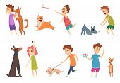 Kids With Dogs. Happy Children Playing Hugging Their Funny Pets Vector Cartoon Puppy Dog Domestic An poster