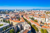 Zagreb, Capital Of Croatia, City Center And Cathedral Aerial View From Drone poster