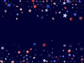 American Patriot Day Stars Background. Confetti In Usa Flag Colors For Independence Day. Cool Red Bl poster
