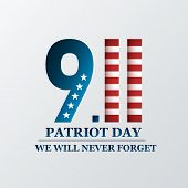 Patriot Day. We Will Never Forget, September 11. Design For Postcard, Flyer, Poster, Banner. Vector  poster