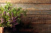 Blooming Heather And Juniper Branch With Berries On A Old Wooden Background. Concept Nordic Ecologic poster