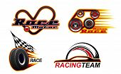 Car Races, Motor Speed Show And Street Racing Icons. Vector Car Race Heart Track, Engine And Tire Wh poster