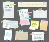 Paper Notes On Stickers, Notepads And Memo Messages Torn Paper Sheets. Vector Blank Sticky Notepaper poster