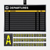 Airport Board . Mechanical Flip Airport Scoreboard. Black Airport And Railway Timetable Departure Or poster