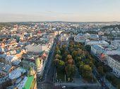 Aerial City Lviv, Ukraine. European City. Popular Areas Of The City. Lviv Opera. Central Part Of Old poster