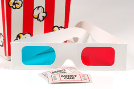 stock photo of matinee  - 3d glasses with tickets and popcorn - JPG
