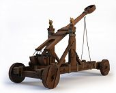 stock photo of projectile  - An ancient Norman Catapult isolated on a white background - JPG