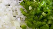 Chopped Green Bell Pepper And White Onion