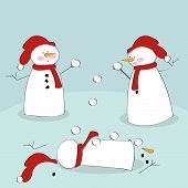 stock photo of snowball-fight  - Vector illustration of snowmen fighting with snowballs - JPG