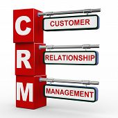 picture of customer relationship management  - 3d illustration of modern roadsign cubes signpost of crm  - JPG