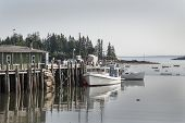 pic of lobster boat  - Lobster boats at dock in Owls Head Maine - JPG