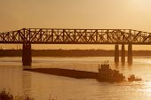picture of memphis tennessee  - Mississippi river under old railroad bridge in Memphis - JPG