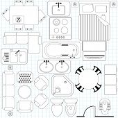 Vector Icons : Simple Furniture / Floor Plan (Outline)