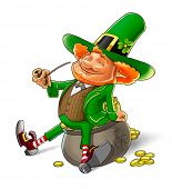 image of gnome  - elf leprechaun smoking pipe for saint patrick - JPG