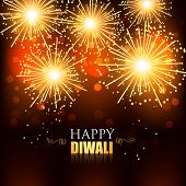 foto of diwali  - beautiful happy diwali fireworks background - JPG
