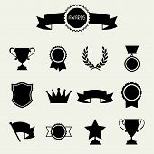 stock photo of prize winner  - Trophy and awards icons set - JPG