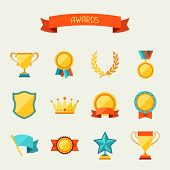 stock photo of laurel  - Trophy and awards icons set - JPG