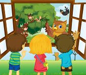 foto of sling bag  - Illustration of the three kids watching the different animals in the forest  - JPG