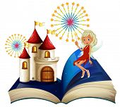 foto of storybook  - Illustration of a storybook with a castle and a fairy on a white background - JPG