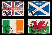 stock photo of ireland  - Set of SELF DESIGNED stamps with flags from the British Isles  - JPG