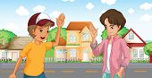 image of post-teen  - Illustration of the two boys meeting across the big houses at the road - JPG