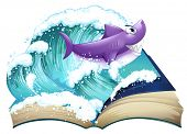 stock photo of storybook  - Illustration of a storybook with a shark and a big wave on a white background - JPG