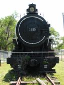 stock photo of chug  - Steam Locomotive Front Shot on tracks found at a park - JPG