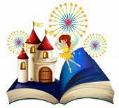 stock photo of storybook  - Illustration of a storybook with a flying fairy near the castle with fireworks on a white background - JPG