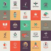 image of online education  - Set of vector icons for art and education - JPG