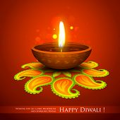 pic of ganpati  - illustration of burning diya on Diwali Holiday background - JPG