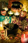 pic of sugar skulls  - Traditional mexican Day of the dead altar with skeleton - JPG